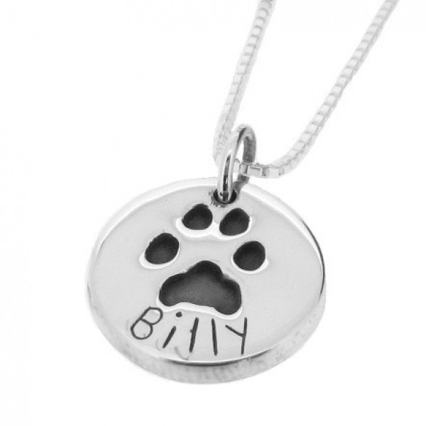 Small Oval Silver Pawprint Pendant