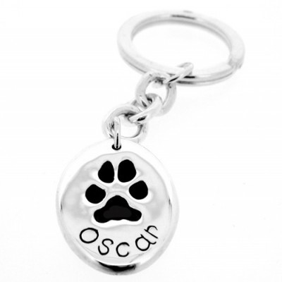 Silver Oval Pawprint Keyring